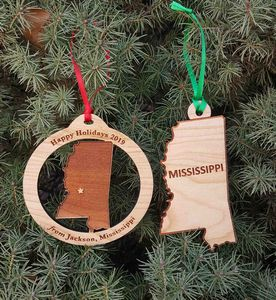 Custom Imprinted Mississippi State Shaped Ornaments
