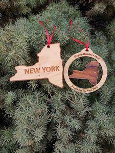 Custom Printed New York State Shaped Ornaments