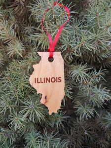 Custom Printed Illinois State Shaped Ornaments