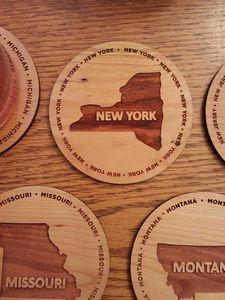 3.5 - New York Engraved Hardwood Coasters - USA-Made