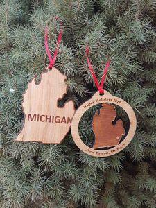 Custom Printed Michigan State Shaped Ornaments