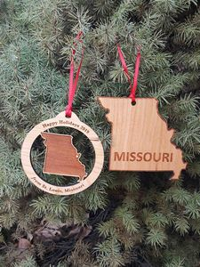 Custom Imprinted Missouri State Shaped Ornaments