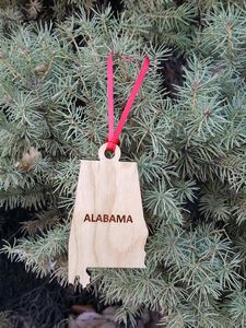 Custom Imprinted Alabama State Shaped Ornaments