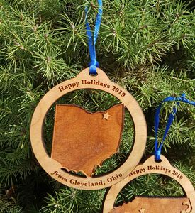 Custom Imprinted Ohio State Shaped Ornaments