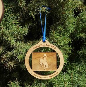 Custom Imprinted Wyoming State Shaped Ornaments