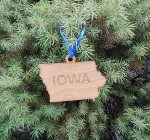 Custom Printed Iowa State Shaped Ornaments