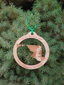 Custom Printed Maryland State Shaped Ornaments