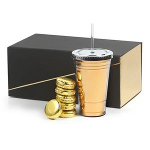 Custom Metallic 16 oz Slurpy Cup Gift Set with Straw & Oreos