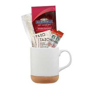 Custom Corky Coffee & More Gift Set in Ceramic Mug w/ Cork Bottom
