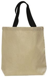 Custom Q-tees Canvas Tote Colored Handles