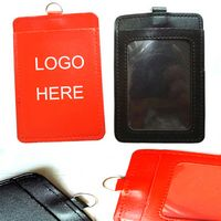 PU Leather Vertical ID Card Badge Holders