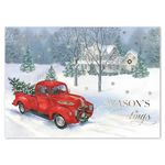 Custom Vintage Truck Season's Greetings Card w/ Gold Lined White Fastick Envelope