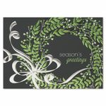 Custom Whimsical Wreath Greeting Card w/ Silver Lined White Fastick Envelope