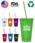 Custom 16oz. Double Wall Tumbler Travel Cup w/Straw - USA Made - Tropical Colored
