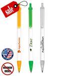 Custom Ballpoint Plunger Action Stick Pen - White Barrel with Translucent Trim