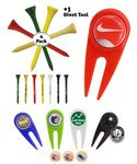 Golf Tee Pack - 4 x Wooden Golf Tees & 1 Divot Repair Tool Packed In A Poly Bag