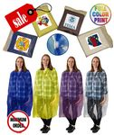Custom Closeout Rain Ponchos, w/ front Snaps, extra long Sleeves. Full Color Label