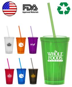 16oz. Double Wall Tumbler Travel Cup w/Straw - USA Made