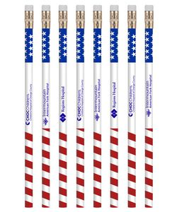 USA Patriotic Promotional Printed Pencils with Custom Logo & Message