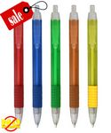 Custom Closeout USA Made Elegant Translucent Click GripPromo Pen - No Minimum