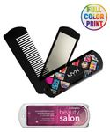 Custom Folding Travel Mirror/Comb Set - Full Color