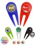 Custom Golf Divot Tool w/ Metal Ball Marker -Full Color