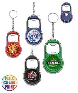 Beer Bottle Opener w/LED Light Keychain - Full Color Print