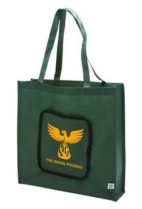 9dedeadf4 Reusable Grocery Tote Bag - Can Be Folded Into Zipper Pouch - BAG907-GN -  IdeaStage Promotional Products