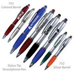 Custom Smart Phone Pen With Stylus & Comfort Grip - Metallic Finish With Comfort Grip