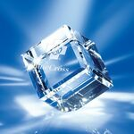 Custom Clear Crystal Cube Award 2-3/4