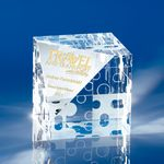 Custom Jigsaw Crystal Cube Award 2-3/4