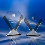 Custom The Perfection Crystal Award with Gray Sides & Triangle Base (8