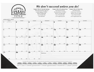 21 3/4x17 Black Calendar Desk Pads w/ Julian & Contractor Dates