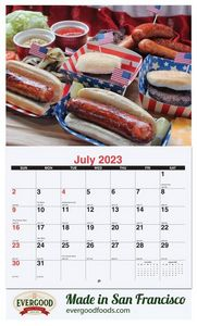 10 5/8x18 1/4 Custom 13 Photo Wall Calendars w/ Stapled Bound