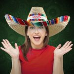 Custom Giant Natural Straw Sombrero with Serape Trim- Imprintable Bands Available