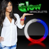 "8"" Superior Triple Color Glow Bracelet in Red/ White/ Blue"