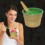 Custom Green Ice Cream Cup and Spoon Set