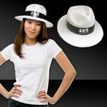 Custom White Plastic Gangster Hats w/ Black Band