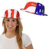 American Flag Plastic Derby Hat