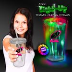 Custom Multi Color LED Travel Cup with Straw