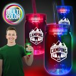 20 Oz. Multi Color LED Mason Jar w/Straw