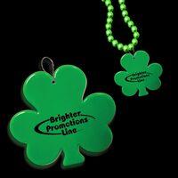 """2 1/2"""" Green Shamrock Plastic Medallion Badge"""