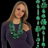 "33"" Green Shamrock Beaded Necklace"