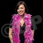 Custom 6' Pink & White Feather Boa with Gold Tinsel