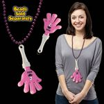 Pink & White Hand Clapper w/ Attached J Hook