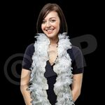 Custom 6' White Feather Boa with Silver Tinsel