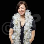 Custom 6' White Feather Boa with Gold Tinsel