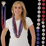 """36"""" Red/Silver/Blue Beaded Necklace"""