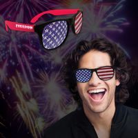 American Flag Neon Red Billboard Sunglasses