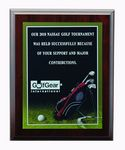 Golf Photo Sports Plaque w/Laser Engraved Plate (9